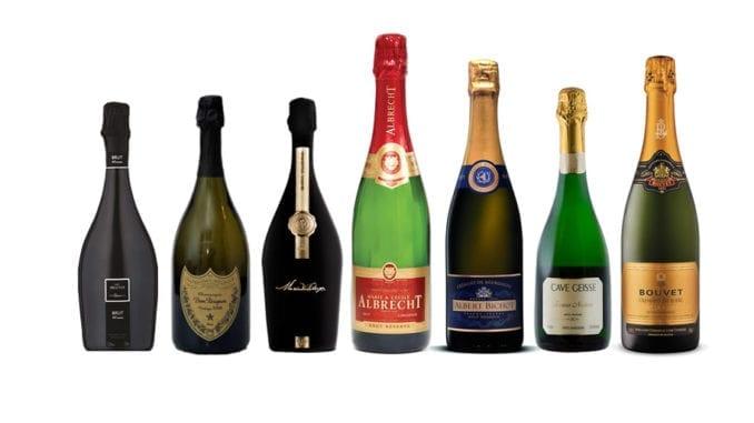 Imagem apresenta os vinhos degustados no evento de hoje: Cave Brut 48 meses 2012; Champagne Brut Vintage 2006; Maria Valduga Brut Vintage 2012; Crémant d'Alsace Brut Rosé. NV; Crémant de Bourgogne Brut Rés. NV; Terroir Nature 2014; Bouvet Crémant de Loire Brut Exc.