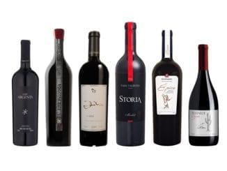 Imagem apresenta os vinhos degustados no evento de hoje: Cuvée Cabern. Sauv. Merlot 2005, Luiz Valduga Corte I NV, Dilor 2009, Gran Storia Merlot 2012, Épico Edição III NV, Testardi Syrah 2016.
