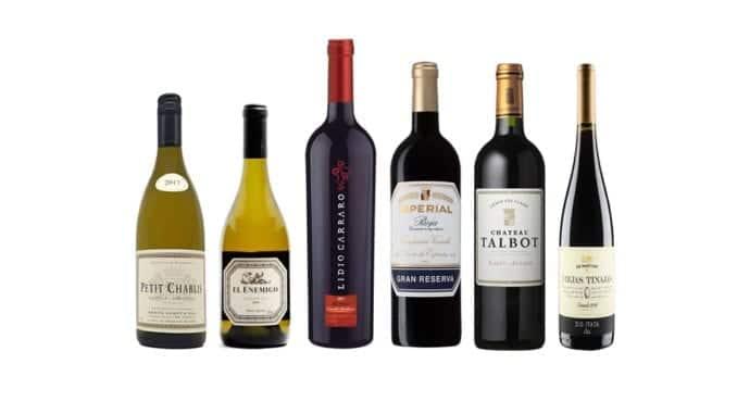 Imagem apresenta os vinhos degustados no evento de hoje: Petit Chablis 2017, El Enemigo Chardonnay 2016, Merlot Grande Vindima 2008, Imperial Gran Reserva 2009, Château Talbot Grand Cru Classé 2012, Cinsault Viejas Tinajas 2016.